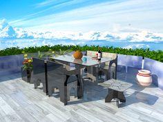 """Grupo de mesa, jardineras, sillas y mesita FMax en negro y """"antique"""" para propuesta de terraza para hotel en la costa norte de Mallorca."""
