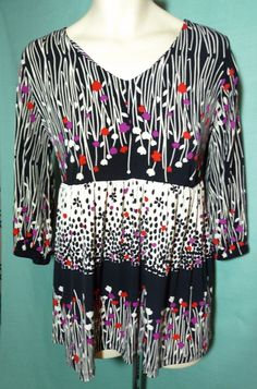 Womens Plus size Tunic 1x 14/16 Black & White Floral 3/4 sleeves Venezia #Venezia #Tunic #Casual $20
