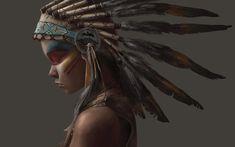 Скачать обои стиль, индианка, перья, девушка, индеец, indian, раздел разное в разрешении 3968x2480
