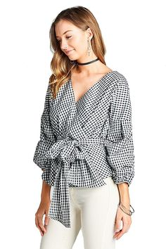ecea2fc3f95dd Gingham Puff Ruched Sleeve V Neck Surplice Waist Wrap Tie Woven Top - Black    White - CD188Z5DSIO