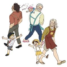 Garp, Coby, Dragon, Sabo, Rayleigh and Luffy One Piece Funny, One Piece Comic, One Piece Fanart, One Piece Images, One Piece Pictures, One Piece Drawing, One Piece Manga, One Piece Wallpaper Iphone, One Piece Crew