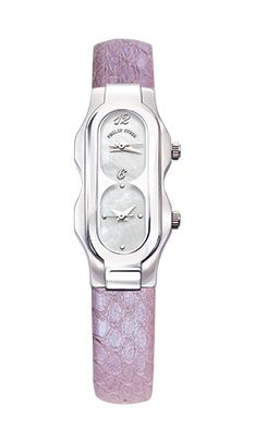 PHILIP STEIN - Mini Stainless Steel Case and Light Metallic Purple Snake Strap