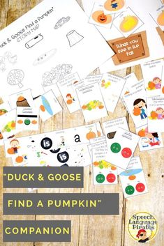 """""""Duck and Goose Find a Pumpkin"""" book companion for fall speech therapy preschool"""