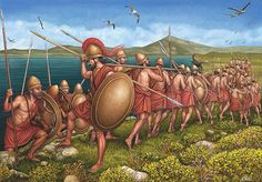 The Sphacteria and Pylos campaign, 425 BC. Spartan hoplites march to battle during the Pylos and Sphacteria campaign of the Peloponnesian War. The Spartans would suffer a humiliating defeat.