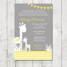 Yellow and Grey Giraffe Silhouette Baby Shower by printablecandee
