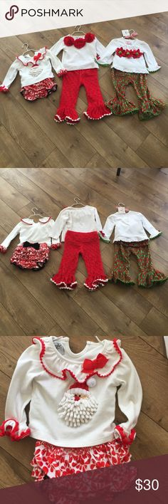 Mud Pie- All 3 outfits Mud pie this is for all three outfits size 12 to 18 months for the poinsettia medium on the red and white flowers and 12 to 18 months on the Santa. All in very good gently used condition. The Poinsetta outfit is new with tags original price $37.99 Mudpie Matching Sets