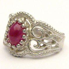 Handmade Sterling Silver Filigree Crown Ruby Ring by JandSGems,