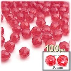 Plastic Beads, Round Transparent, 10mm, 100-pc, Christmas Red