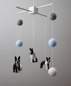 Custom Boston Terrier Pet Dog Needle Felted Nursery by MerleyBird, $195.00