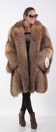 finnish raccoon fur coat