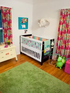 One challenge with multiples is giving each child his or her own personal space. Rebecca chose a different crib for each baby, but she kept the look cohesive with coordinating bedding.
