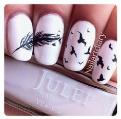 Love this! feather and bird nails
