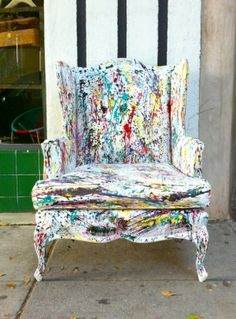 Splattered paint vintage armchair