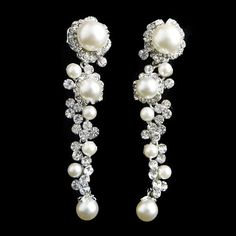 Swarovski Crystal White/Ivory Pearl Bridal Earrings by Annamall, $19.99