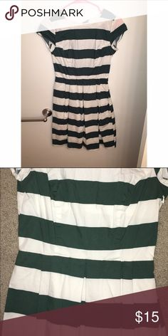 DownEast Green and white striped dress Only wore twice. Goes past my knees and i'm 5'2. downeast Dresses Midi
