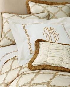 Shop King Versailles Embroidered-Frame Sham from Matouk at Horchow, where you'll find new lower shipping on hundreds of home furnishings and gifts. Bed Linen Design, Bed Design, Bedding Sets Online, Comforter Sets, King Comforter, Queen Sheets, Bed Sheets, Luxury Bedding Collections, Bed Linen Sets