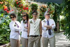 butch bride, butch-maids, lesbian wedding,