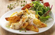 Ostebagte kartofler og kyllingp