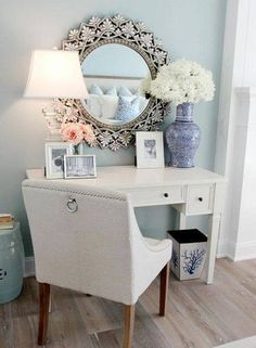 Makeup Desk-Change the mirror to have the broadway lights and the desk to be larger. Also, make a vase filled with clear beads to keep brushes.