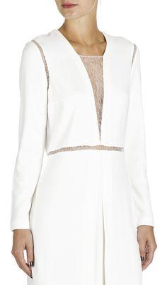 Robe cintrée empiècements dentelle Blanc by BA & SH
