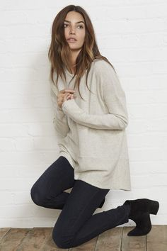 cashmere sweater + booties