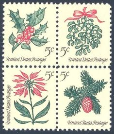 1964_11_09 $.05  this set of four mint Christmas stamps was a first for the United States Post Office: this issue featured four different designs in a regular size pane of 100 stamps. The stamps depict the plants Holly, Mistletoe, Poinsettia, and a pine tree cone.