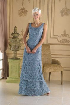Sheath/Column Square  Floor Length Sleeveless Lace  Mother Of Bridal Dress