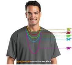 Men's Chain Length Chart | Mens Necklace Lengths                                                                                                                                                                                 More