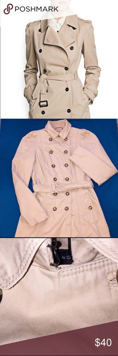 Zara Cotton Trench Coat 💎Gently Used Trench Coat. Puffed Shoulders. Neck Hook Closure. Single Buttoned Side Pockets. A-Line Shape. Similar Style Shown. Zara Jackets & Coats Trench Coats
