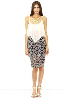 West Coast Wardrobe Ladies Who Lunch Skirt in Black/White