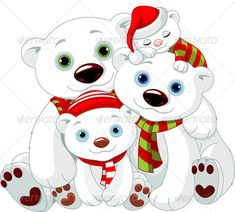 Buy Big Polar Bear Family at Christmas by Dazdraperma on GraphicRiver. Illustration of Big Polar bear family at Christmas. Christmas Animals, Christmas Images, Christmas Art, Illustration Noel, Christmas Illustration, Christmas Cartoons, Christmas Clipart, Pach Aplique, Clipart Noel