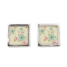 "Nostalgic flowers Square Cufflinks Beige seamless vintage pattern ""Nostalgic flowers""  $38.99"