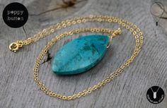 Great gift for boho lovers. Malachite Jewellery – Chrysocolla gemstone freeform pendant necklace – a unique product by poppybutton via en.DaWanda.com #blue #gold
