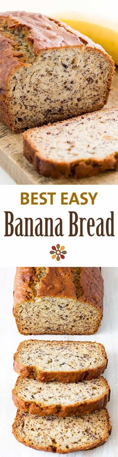 Easiest banana bread ever! No need for a mixer! Delicious and easy, classic banana bread recipe. Most popular recipe on SimplyRecipes.com #BananaBread #Baking #Banana Easiest Banana Bread Recipe, Simple Banana Bread, 2 Bananas Banana Bread, No Sugar Banana Bread, 1 Loaf Banana Bread Recipe, Banana Bread With Cinnamon, Easy Banana Bread Muffins, Applesauce Banana Bread, Ripe Banana Recipes Healthy