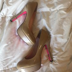 """Betsey Johnson nude patent leather platforms Betsey Johnson """"Dita"""" nude patent leather platforms.  Lace detail on back. Approx. heel height: 5"""" with 1"""" platform (comparable to a 4"""" heel). Some staining on lace detail, can probably be cleaned with a shout wipe. Betsey Johnson Shoes"""