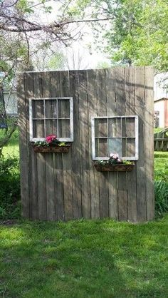 Shed DIY - My old deck wood and windows from neighbors trash made a cute privacy screen. Now You Can Build ANY Shed In A Weekend Even If You've Zero Woodworking Experience!