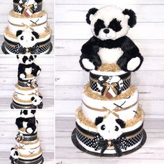 How SWEET is this Panda Bear Nappy Cake! This Baby Shower centrepiece gift includes: Huggies Newborn Nappies Flannelette Wraps Baby Blanket Panda Rattle Panda Mittens Plush Panda Toy