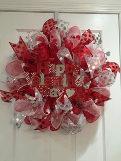 Valentine's Day Heart Deco Mesh Red & White Holiday Wreath with Wood Plaque