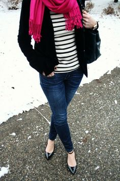 navy striped shirt with coral cardigan and cute scarf