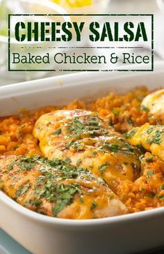Make this tasty kicked up casserole recipe for your next dinner party. The sauce in this Cheesy Salsa Baked Chicken & Rice is delicious!