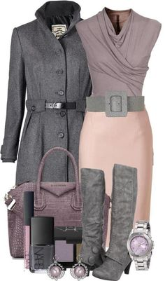 Gray & beige, Get creative and mix it up with some colors that pops out, change the boots for some pumps/booties or if you like it just like that is a great outfit. Works for the office, or church just different shoes. Just an idea.