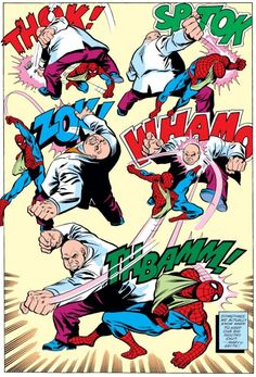"""Spidey vs. Kingpin (from the Amazing Spider-Man #197 - October 1979) by Keith Pollard - """"Sometimes we actually know when to keep our big mouths shut."""""""