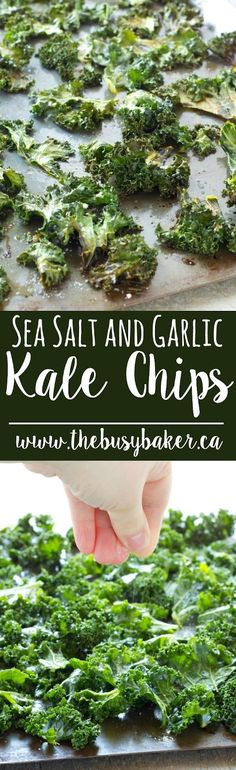These Sea Salt and Garlic Kale Chips from thebusybaker.ca are the perfect healthy snack for those summer road trips!!