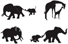 elephant silhouette   African Animal Silhouettes Royalty Free Stock Vector Art Illustration