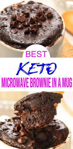 {Keto Mug Cake} Easy simple ingredient Brownie Mug Cage you will want to check out! Quick & simple ingredient ketogenic diet mug cake make for a easy keto breakfast, keto snack or keto dessert. Sweet & savory low carb fudgy chocolate brownie microwave mug Mug Brownie Recipes, Mug Recipes, Dessert Recipes, Gluten Free Brownie In A Mug, Keto Recipes, Gluten Free Mug Cake, Gluten Free Brownies, Steak Recipes, Quick Recipes