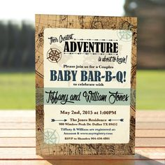 vintage map couples baby shower invitation adventure baby shower invite digital download printable