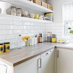 Small kitchen Tiles - White kitchen with metro tiles and open shelves. Metro Tiles Kitchen, White Kitchen Backsplash, White Kitchen Decor, New Kitchen, Kitchen Yellow, Kitchen Wood, Kitchen Modern, Grey Yellow Kitchen, Backsplash Ideas