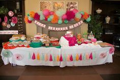 Mint, orange, pink themed birthday