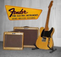 Fender Champ and Deluxe Tweed amps and early Esquire Guitar Room, Guitar Pics, Guitar Amp, Cool Guitar, Fender American Vintage, Fender Vintage, Vintage Guitars, Fender Electric Guitar, Fender Stratocaster