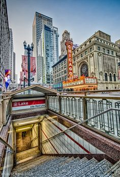 Chicago Theater, Lake Street Red Line Station (Chicago Pin of the Day, Chicago Travel, Chicago City, Chicago Skyline, Chicago Illinois, Chicago Trip, Chicago Usa, San Diego, San Francisco, Chicago Transit Authority